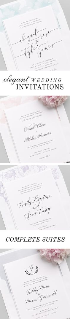 Shop over 100 gorgeous wedding invitations styled to perfection, featuring elegant calligraphy, customizable envelope liners, belly bands and more. Each design features a full suite of matching collection items to carry your stationery theme throughout your big day!