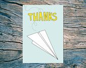 THANKS (paper airplane) folded note card with envelope (blue) by Near Modern Disaster on etsy