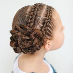 2 Dutch infinity braids into a braided flower. Grad Hairstyles, Dance Hairstyles, Cute Girls Hairstyles, Kids Braided Hairstyles, Flower Girl Hairstyles, Gymnastics Hairstyles, Girls Hairdos, Baby Girl Hair, Girls Braids