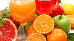 3840x2160 Wallpaper juice, fruit, white background, lots of, glasses, apple, orange, cut, grapefruit, pomegranate, lemon