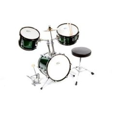 "Austin Bazaar 3-Piece Kid's Green Drumset with 12"" Bass Drum, Snare, Cymbal, Pedal, Throne and Drumsticks by Austin Bazaar. $149.95. Austin Bazaar's 3-Piece Kids Drumset is the perfect size for kids ages 3-5! It includes everything you need to get rockin' right out of the box - a drum throne, bass drum pedal, a crash cymbal, and a pair of sticks!  Its durable quality will hold up to your child's playing. It features real wood multi-ply shells, fully tunable top an..."