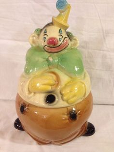 Vintage Brush Pottery Clown Ccokie Jar