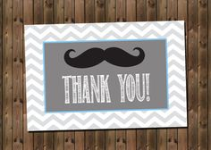 Mustache Thank You Card, INSTANT DOWNLOAD, Digital File, Printable