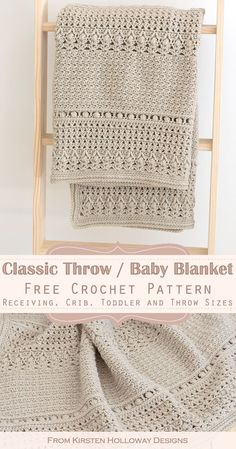 Crochet a classic throw / baby blanket with this free crochet pattern! This blanket pattern comes in receiving, crib, toddler and throw blankent sizes. It is a gender neutral baby blanket that works for baby boys or baby girls. #freecrochetpatterns #freecrochetblanketpatterns #freecrochetafghanpatterns