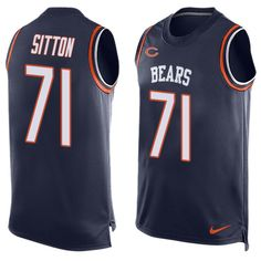 Men's Nike Chicago Bears #71 Josh Sitton Limited Navy Blue Player Name & Number Tank Top NFL Jersey