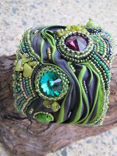 Cuff Beaded Shibori Silk Swarovski Crystal Jasper in greens and purple