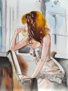 Love Romance Figure Painting - Watercolor - Original Figurative Illustration by Lana