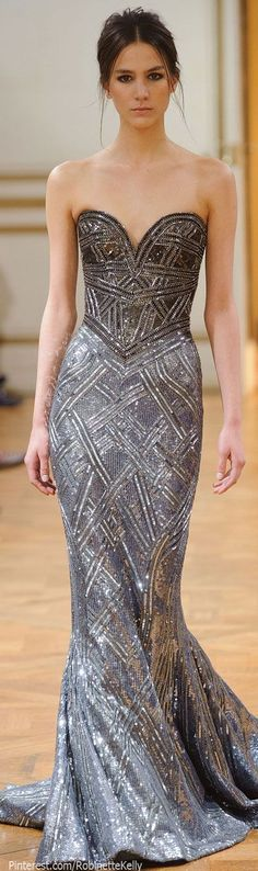 Gorgeous silver/grey evening gown, defined waist, mermaid fit. Perfect detailing