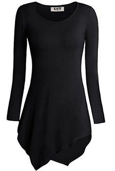 DJT Womens Solid Hankerchief Hemline Tunic Top Small  17 Black DJT http    460116672