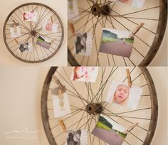 Make an antique bicycle wheel your new pin board. | 27 Unique Photo Display Ideas That Will Bring Your Memories To Life