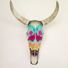 Jaguar Wisdom - yarn painting done on a cow skull #art #Mexico