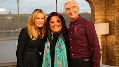 Amanda Holden and Phillip Schofield with Lisa Riley