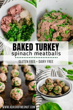 Did you know you can bake meatballs in the oven? It's simple! These baked gluten free turkey meatballs are full of spinach and garlic flavor. They're a great weeknight meal recipe the whole family wil Dairy Free Recipes, Baby Food Recipes, Cooking Recipes, Healthy Recipes, Simple Spinach Recipes, Dairy Free Keto Meals, Gluten Dairy Free, Gluten Free Chicken, Cooking Tips