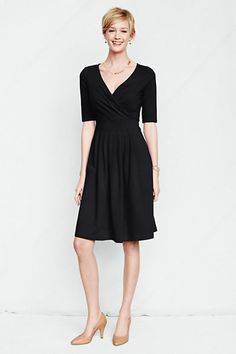 Women's Elbow Sleeve Cotton Modal Fit and Flare Dress from Lands' End - now $33 with code SALUTE and pin 4227