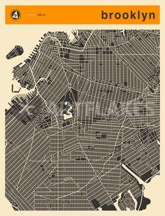 """""""BROOKLYN MAP"""" Digital Art von Jazzberry  Blue jetzt als Poster, Kunstdruck oder Grußkarte kaufen.."""