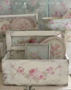 Boxes, trays, pictures etc white painted, distressed and decoupaged with roses