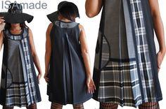 Robe trapèze chasuble Noire Patch de tissu Tartan écossais à carreaux Noir Blanc/ Prince de Galles Gris et Tissu