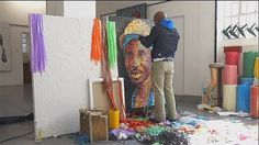 South African artist paints with fire and plastic waste Reality Of Life, New Africa, South African Artists, Plastic Art, Poor Children, Artist Painting, Portrait, Art World, Art School