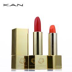 KAN de Lujo de Oro Lápiz Labial Mate Impermeable antiadherente Labio Maquillaje Hidratar Crema Retro Batom Desnudo Lápiz Labial Maquillaje de la Marca pigmento