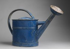 Blue Painted Zinc Watering Can French circa 1920