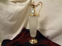 Italian Brass and Glass, Art Deco style, vintage wine container by TresTresInteressant on Etsy