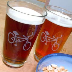 Bicycle pint glasses etched by Bread and Badger gifts - Now made to order! #bike #bicycle #pintglass #beer #glassware #etched #gifts #drinks