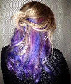Hair purple peekaboo color highlights 24 best ideas - All For Hair Color Balayage Blonde Brown Hair Color, Purple Hair Streaks, Blue Hair Highlights, Hair Color Purple, Cool Hair Color, Peekaboo Highlights, Violet Hair, Burgundy Hair, Hair Colors