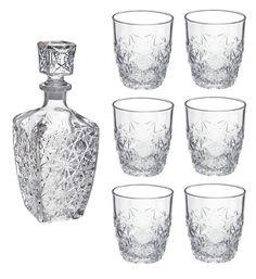 Bormioli Rocco Dedalo whisky / Spirito Decanter (750ml) / 6 bicchieri Set