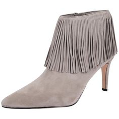 Sam Edelman Kandice ($175) ❤ liked on Polyvore featuring shoes, boots, ankle booties, grey, suede fringe booties, suede boots, high heel booties, grey suede boots and fringe ankle boots