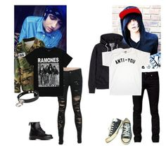 """*walking through street*~ Ash & Tyler"" by killerkat-cl ❤ liked on Polyvore featuring Dr. Martens, UNIF, Tiger of Sweden and Converse"