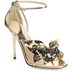 Jimmy Choo Mantle Jeweled Flower Metallic Leather Sandals found on Polyvore
