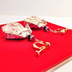 Origami Doll Earrings  Pink. Paper Japanese Doll by SelectShopNORA