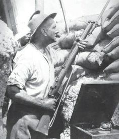 An Australian soldier in the trenches at Gallipoli.