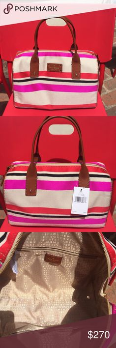 Kate Spade Kayleigh oak island stripe purse NWT and absolutely beautiful!  Stripes are beige, red, hot pink and black. Brown leather handles and zipper. Measures 7 inches deep on the sides and 9 inches deep in the center. Measures 6 inches on sides and 12 inches across. Zipper pulls 24 inches across the top. kate spade Bags