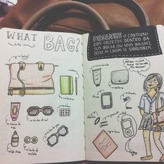 Desenhe o contorno dos objetos dentro da sua bolsa (ou seus bolsos). Deixe as linhas se sobreporem.   Destrua este diário   Wreck this journal