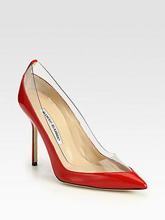 e7832f9c3a78 Manolo Blahnik Star Patent Leather Pumps Invisible PVC lends modern style  to this point-toe