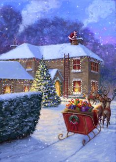 Winter Christmas Scenes, Christmas Scenery, Noel Christmas, Merry Little Christmas, Vintage Christmas Cards, Christmas Pictures, Christmas Crafts, Christmas Decorations, Xmas