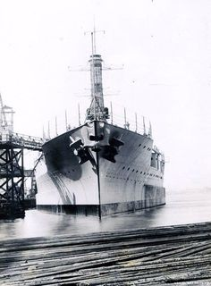 USS Idaho (BB 42) at the New York Shipbuilding Corp, Shipyard, Camden, New Jersey in March 1919. Note anchors. NHHC Photograph Collection, NH 534953.