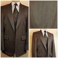 70s Vintage Bill Blass Men's Boys Brown Check Plaid Suit Size 36 3PQGKgRQ