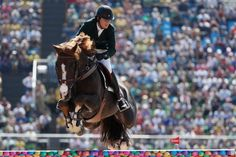 Pedro Veniss of Brazil, riding Quabri de L'Isle, in the jumping individual and team qualifier.