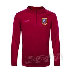 Promo:Le Meilleur Du Nouveau Training Zip Sweatshirt Atletico Madrid Rouge 2016 2017 Slim Personnalise