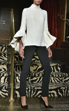 the fold-under effect of the bell sleeve, with exaggerated bells after a slim overall shape of the top. Crepe Bell Sleeve Peplum Top by BRANDON MAXWELL for Preorder on Moda Operandi Look Fashion, Fashion Details, High Fashion, Autumn Fashion, Womens Fashion, Fashion Trends, Fashion Beauty, Street Style, Street Chic