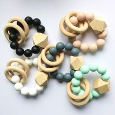 Modern Silicone and Wooden Bead Teethers on DLK