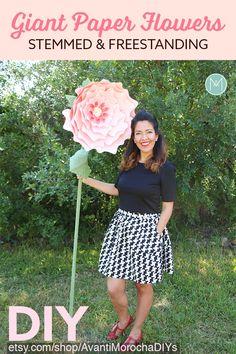 DIY Giant Paper Flowers - Stemmed & FreeStanding - Patterns and Video Tutorials. Flower Bouquet.