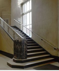 Art Deco Staircase at U.S. Post Office and Courthouse, Albany, New York - Built: 1931-1932 - Art Deco Architecture