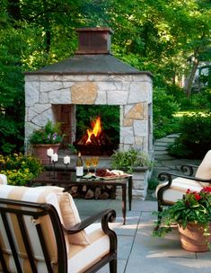 Outdoor living space with fireplace.