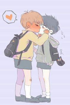 That's TaeGi not VKook. Yoongi has a Kumamon keychain on his backpack. Fanart Bts, Yoonmin Fanart, Vkook Fanart, Kaisoo, Chanbaek, Fan Art, Dibujos Cute, Bts Chibi, Bts Fans