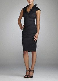 Sophisticated and chic, this black stretch taffeta style is a great go-to for the modern mother of the bride or any special guest.  Ruffle collar is fashionable and flattering.  Side ruching adds texture and hides any flaws.  Cap sleeves provide just the right amount of coverage.  Comfortable stretch taffeta fabric looks great and feels fabulous.  Fully lined. Back zip. Imported polyester/nylon/spandex blend. Dry clean only.   Available in Black.