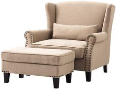 Wingback chair and ottoman for guest bedroom, in brown leather or taupe upholstery