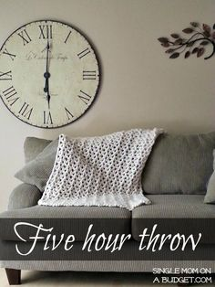 five hour crochet throw - this uses 3 strands of yarn at the same time.  Could be cute with different colors!